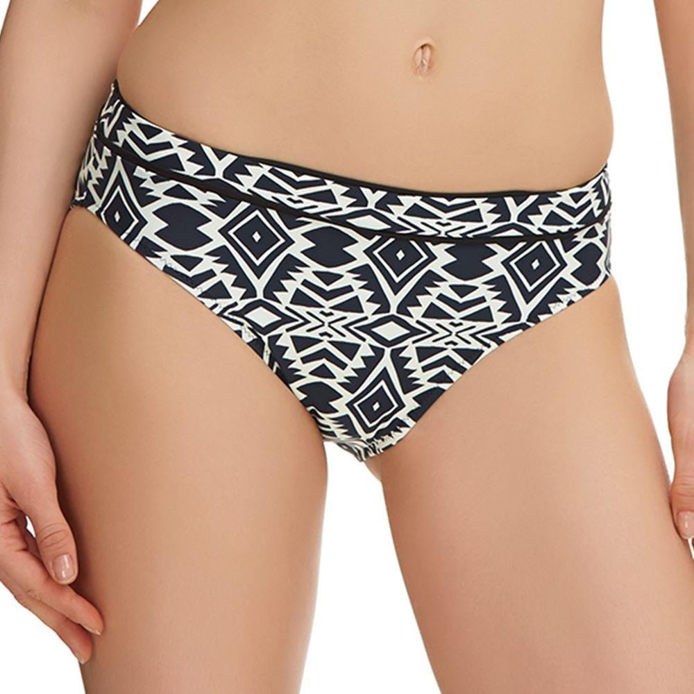 Fantasie Beqa Mid Rise Bikini Brief - Black/Cream