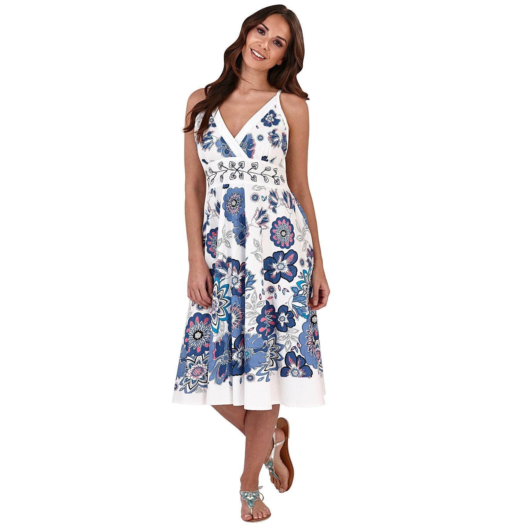 Pistachio Embroidered Crossover Dress - Blue
