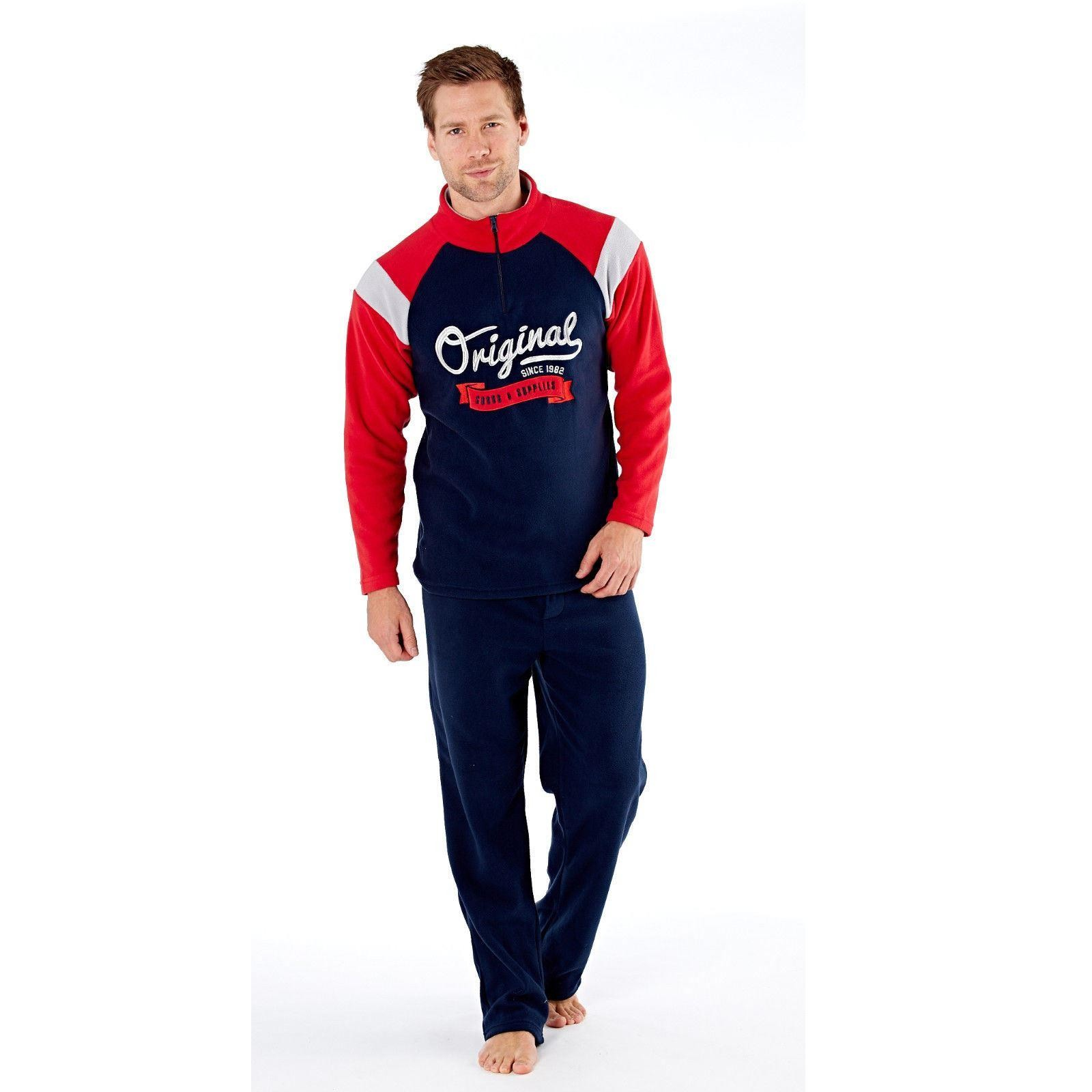 Harvey James Mens 'Original' Zip Loungewear Set - Navy/Red
