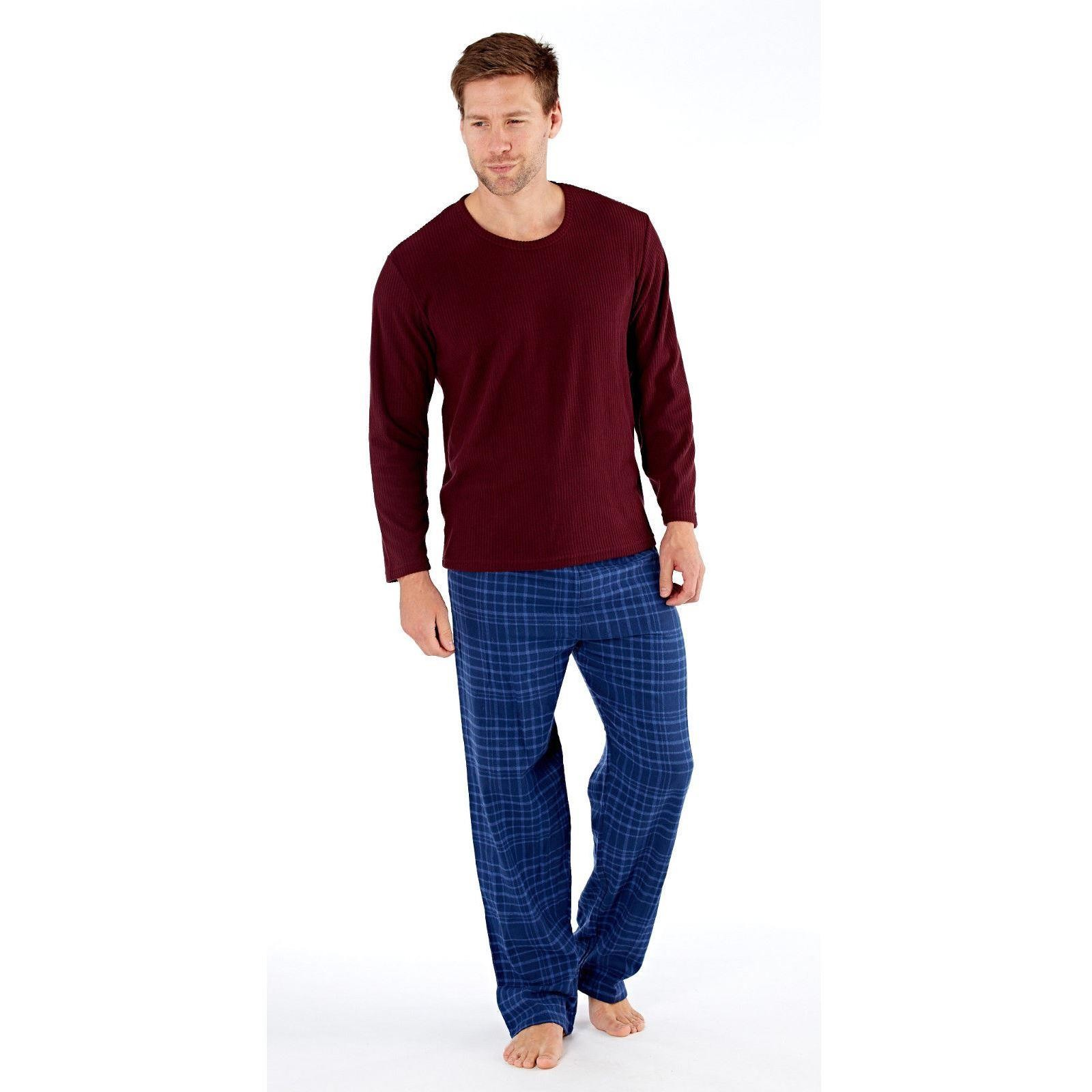 Harvey James Mens Fleece/Flannel Pyjamas - Burgundy/Petrol