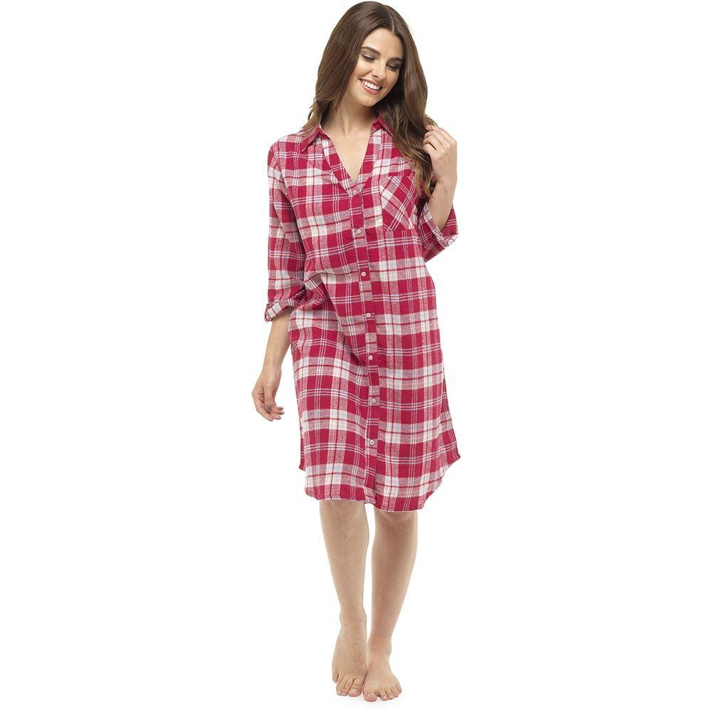 Ladies Yarn Dyed Check Night Shirt - Red