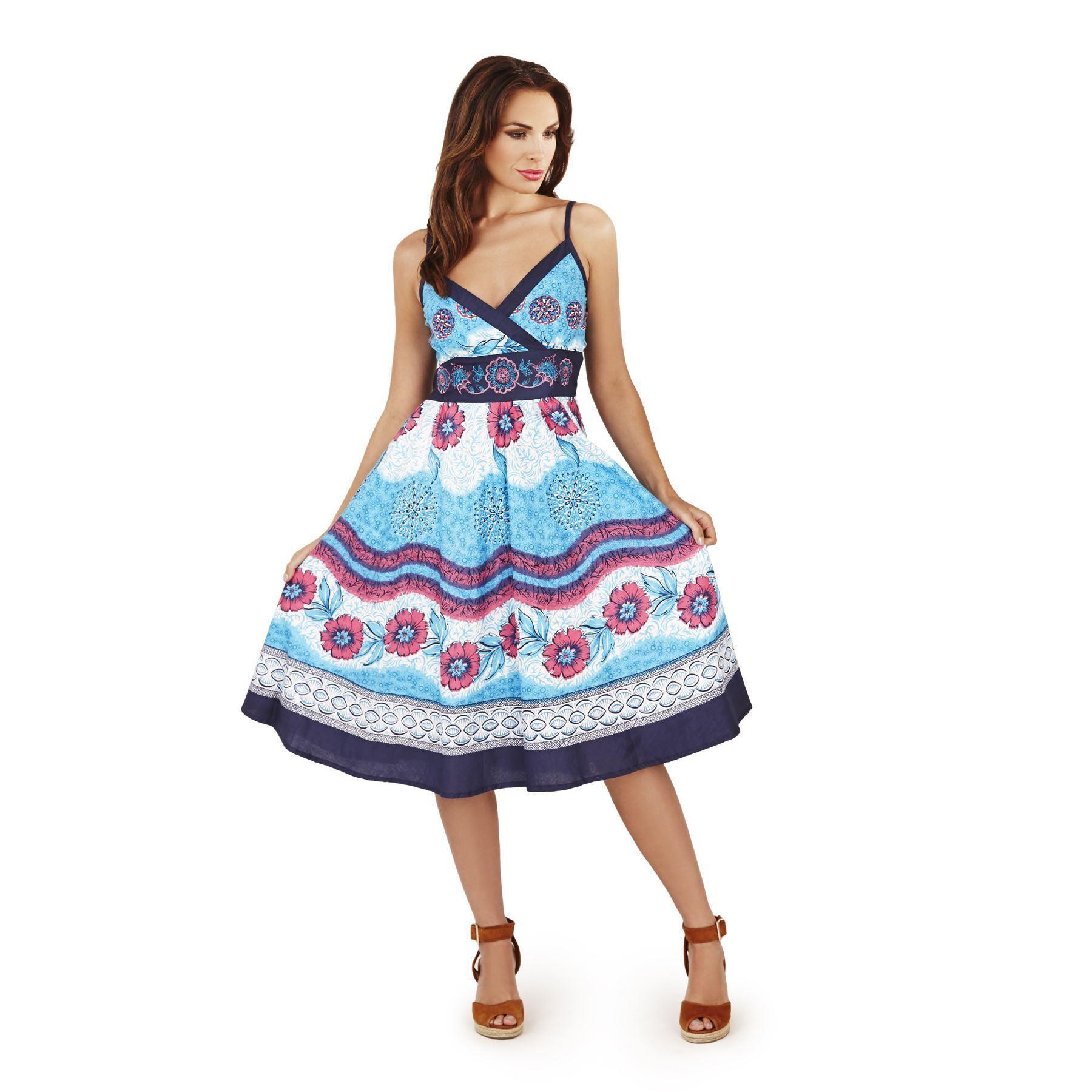 Pistachio Floral Crossover Dress - Blue