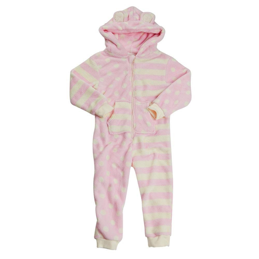Onezee Spot/Stripe Fleece Onesie - Pink/Cream