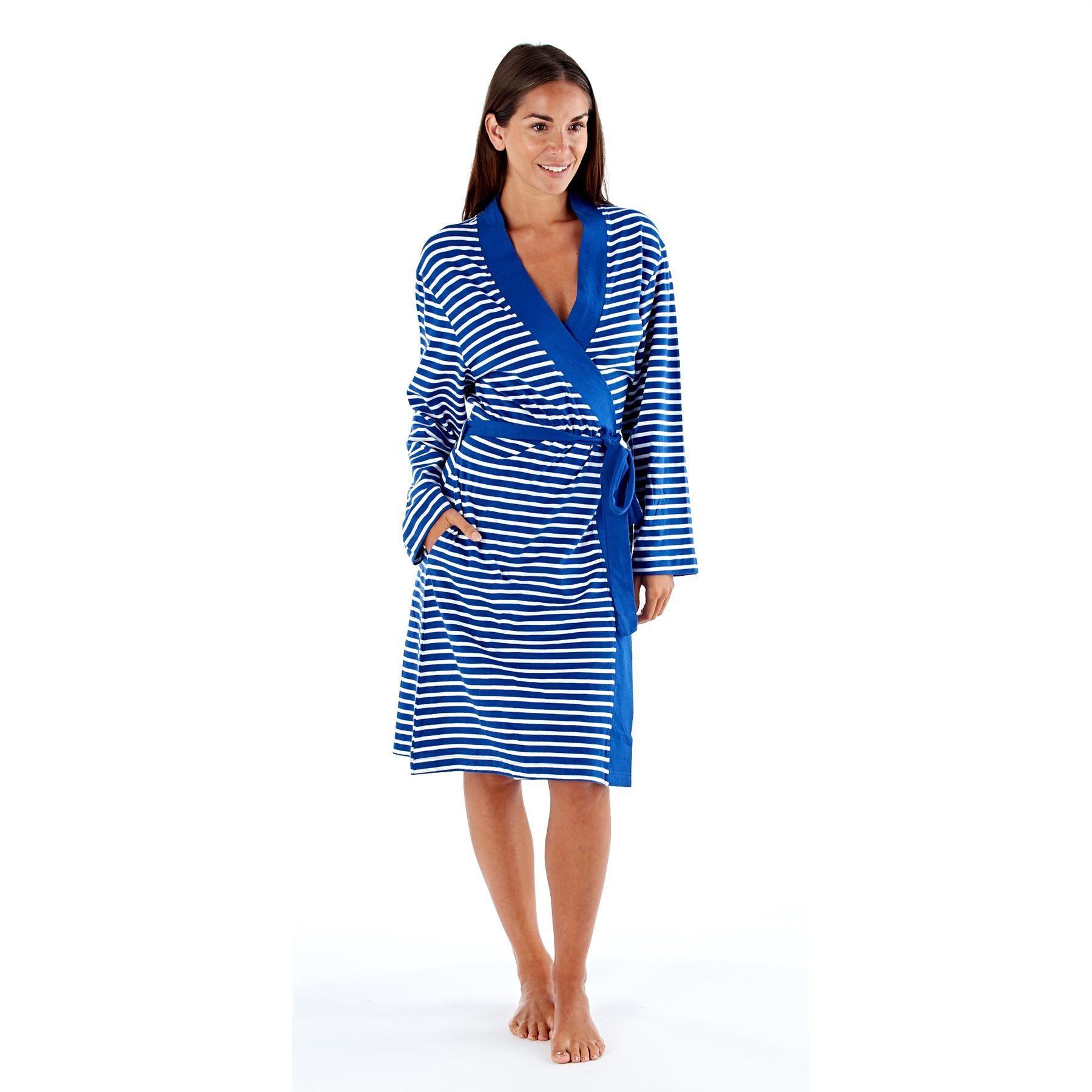 Selena Secrets Kimono Style Striped Robe - Navy