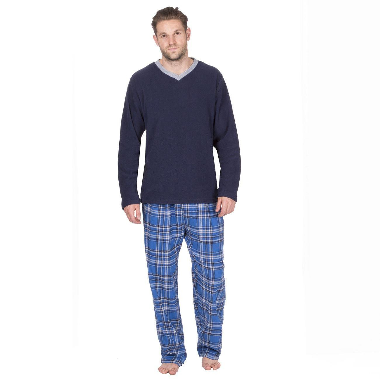 Cargo Bay Mens Fleece/Flannel Pyjamas - Navy