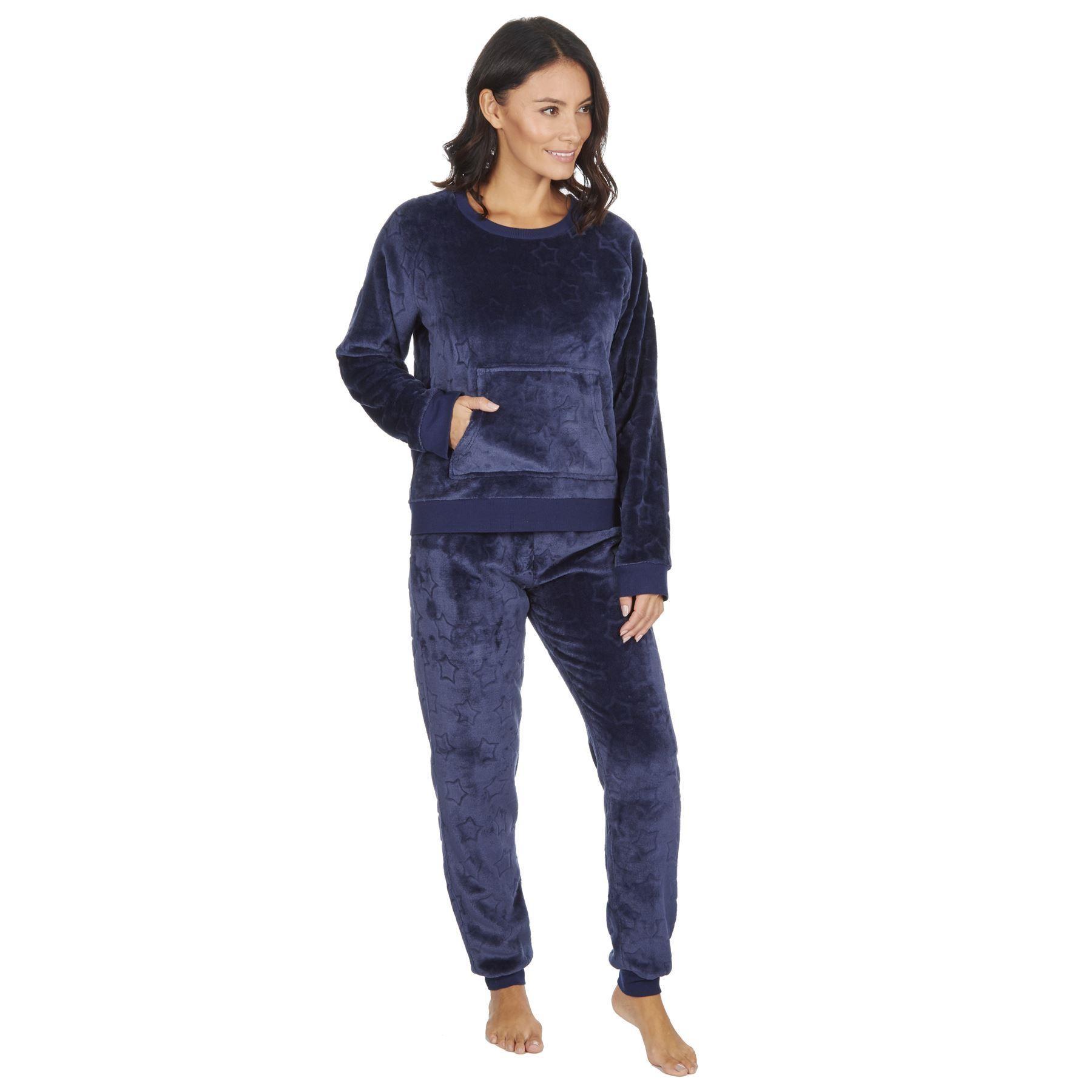 Forever Dreaming Ladies Embossed Stars Fleece Pyjama Set - Navy