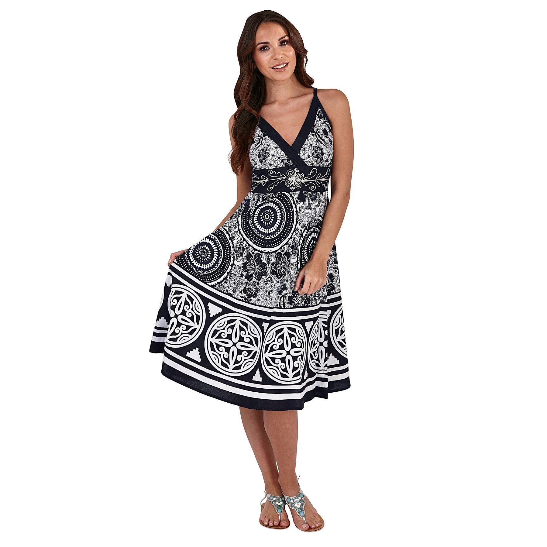 Pistachio Pattern Crossover Dress - Navy