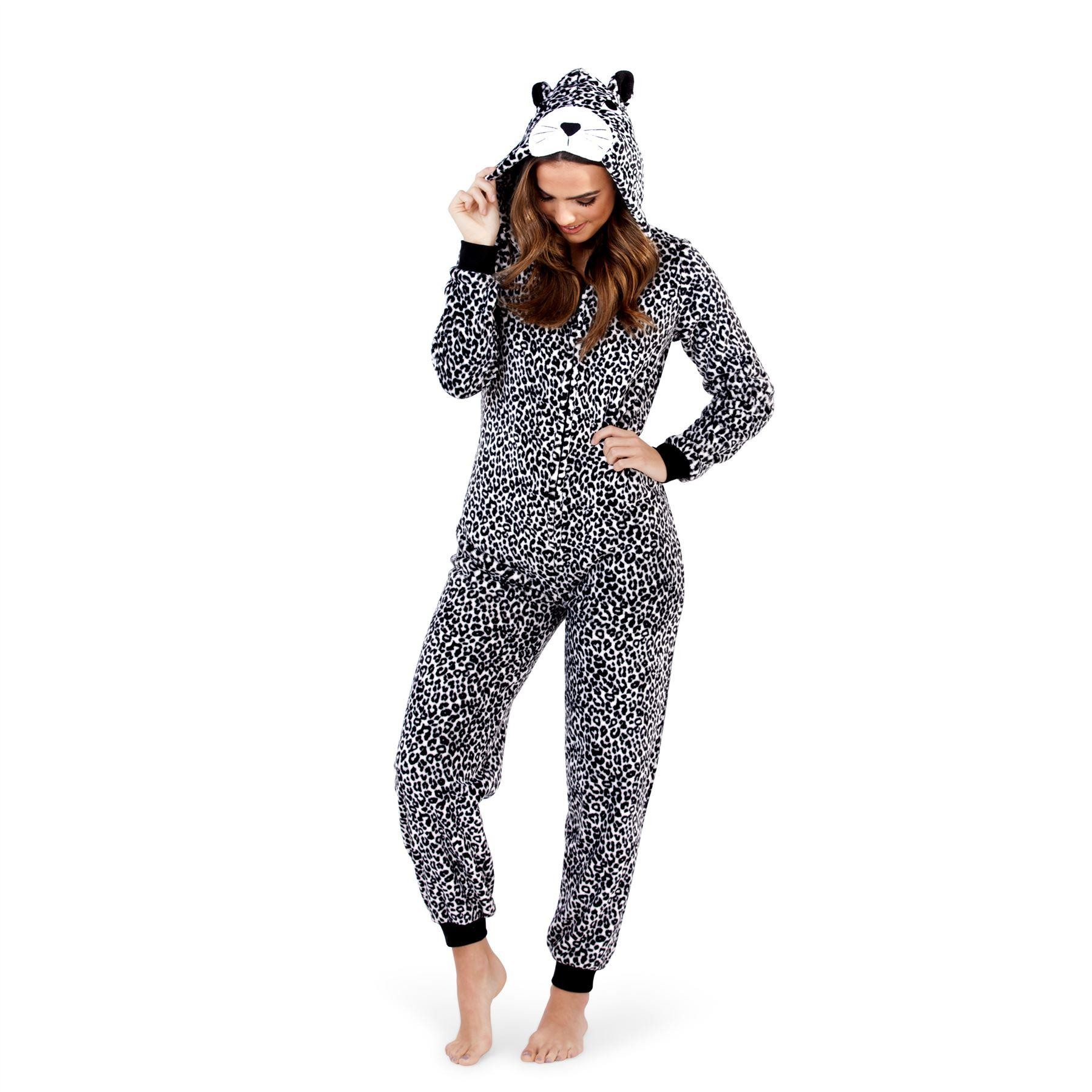 Loungeable Boutique Grey Leopard Print Onesie