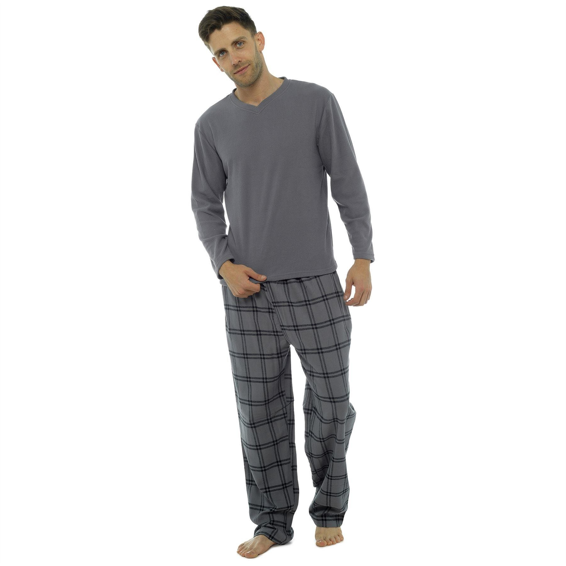 Tom Franks Mens Fleece/Flannel Check Pyjama Set - Grey