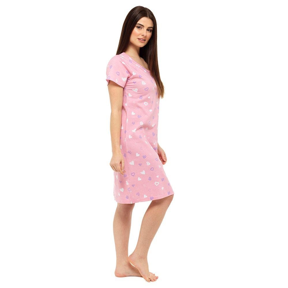 Ladies Short Sleeve Nightie - Pink Heart