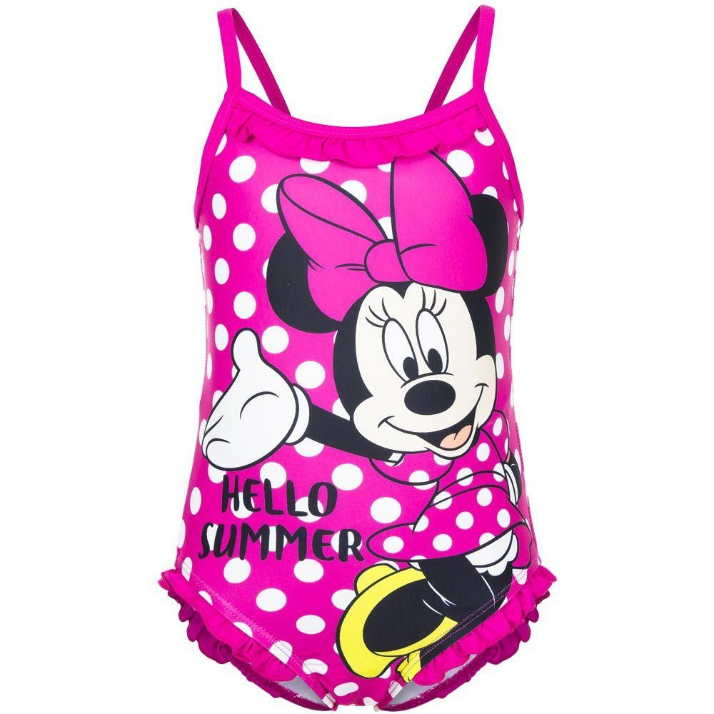 Girls Disney Minnie Mouse 'Hello Summer' Pink Swimsuit