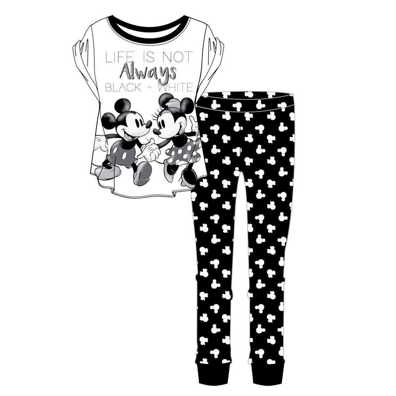 Ladies Mickey/Minnie Black And White Pyjama Set