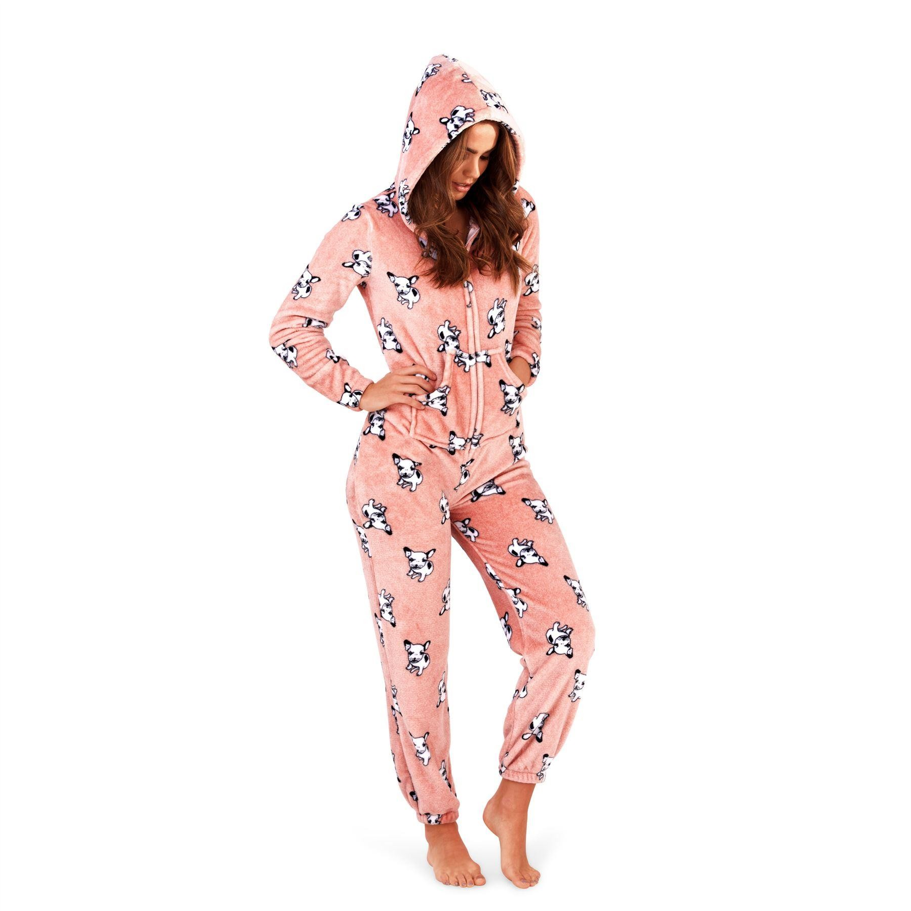 Loungeable Boutique French Bulldog Print Onesie