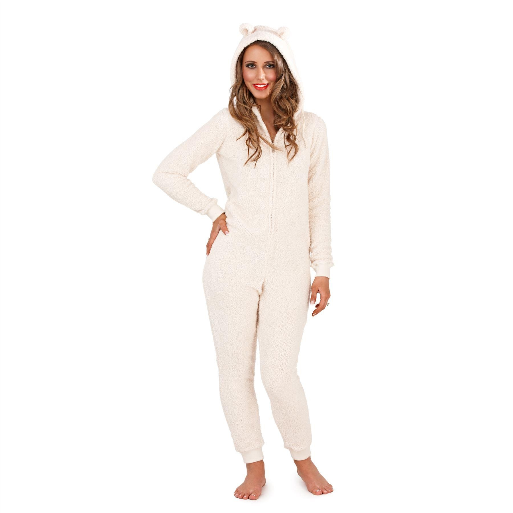 Loungeable Sherpa Onesie with Ears Cream