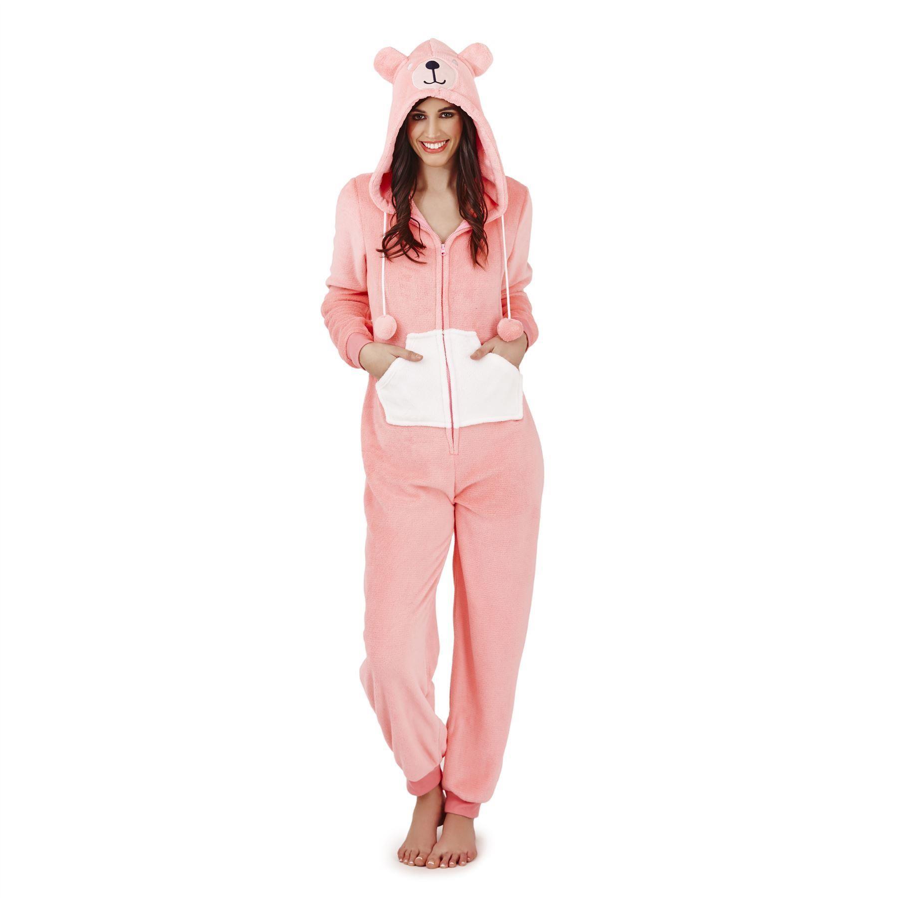 Loungeable Boutique Teddy Bear Fleece Onesie - Pink