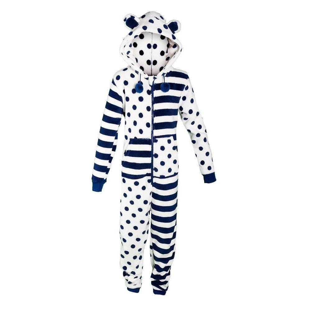 Onezee Spot/Stripe Fleece Onesie - Navy/White