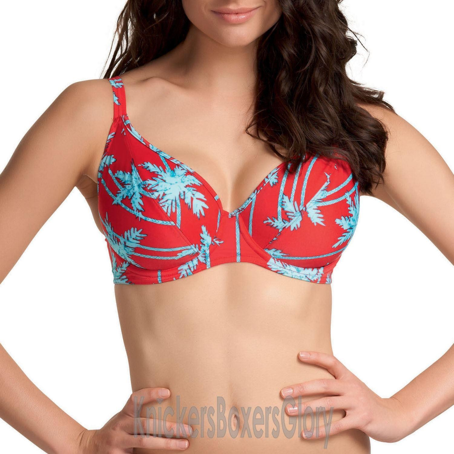 Freya South Pacific Deep Plunge Bikini Top - Red