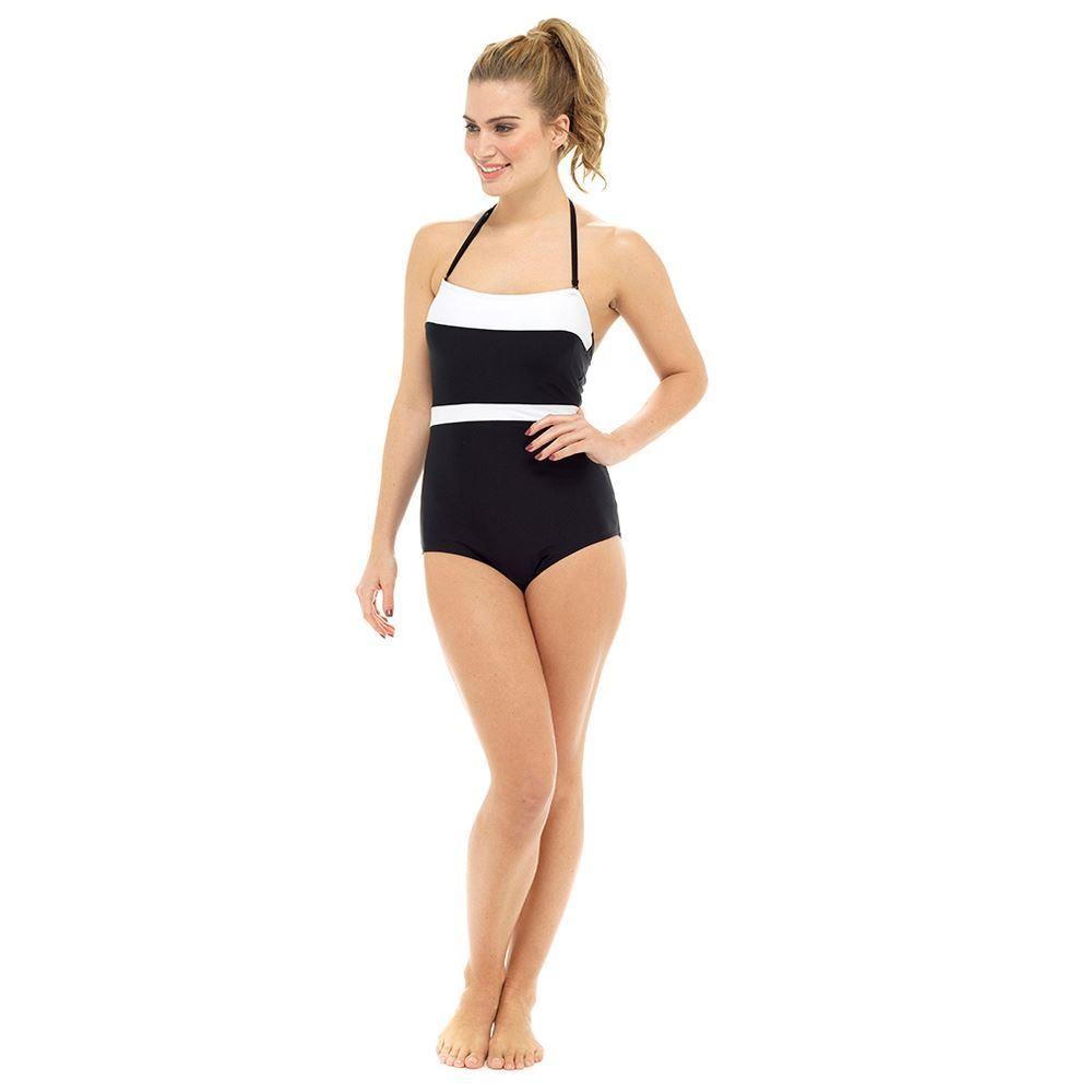 Ladies Bandeau Tummy Control Contrast Swimsuit - Black