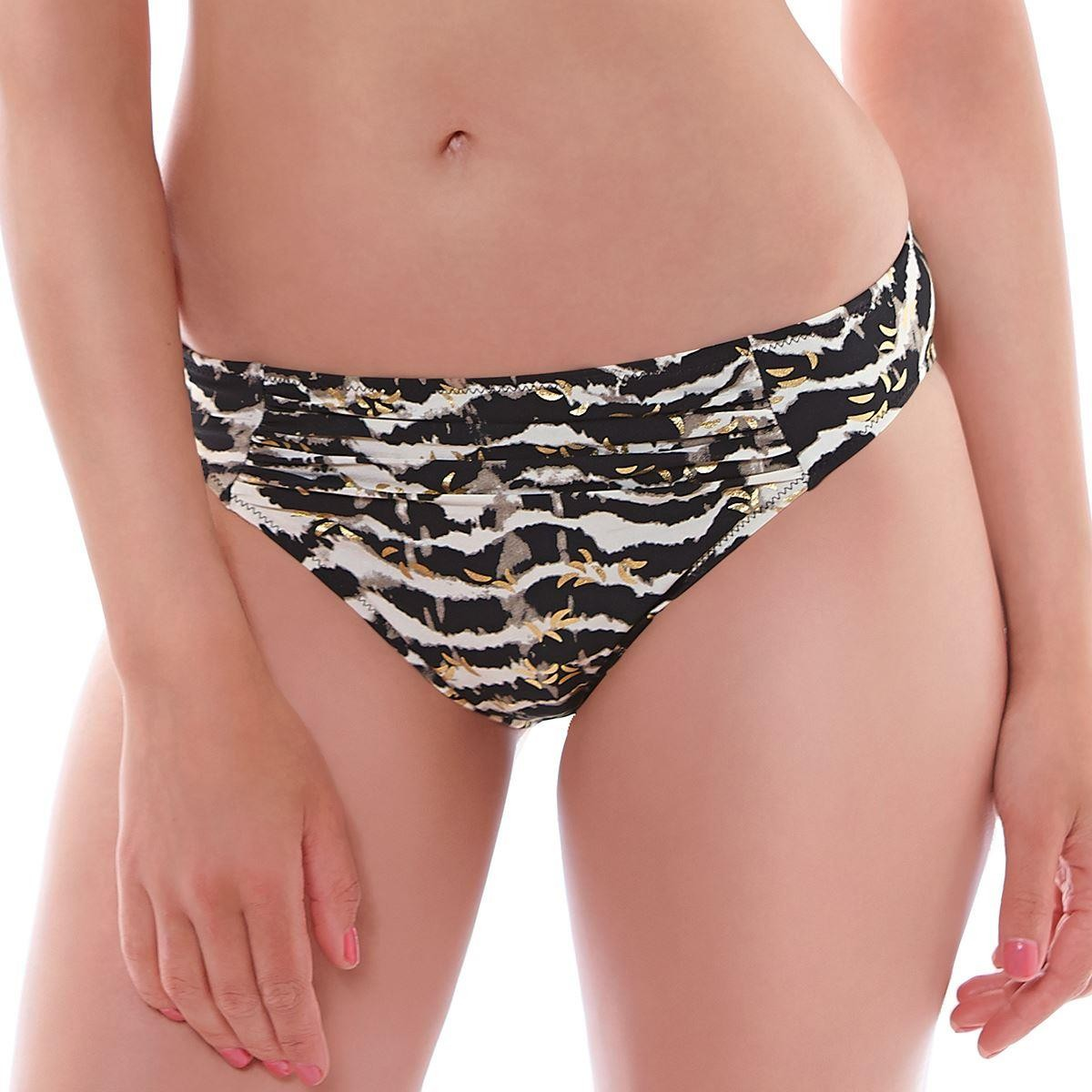 Fantasie Milos Classic Gathered Bikini Brief - Black/Cream