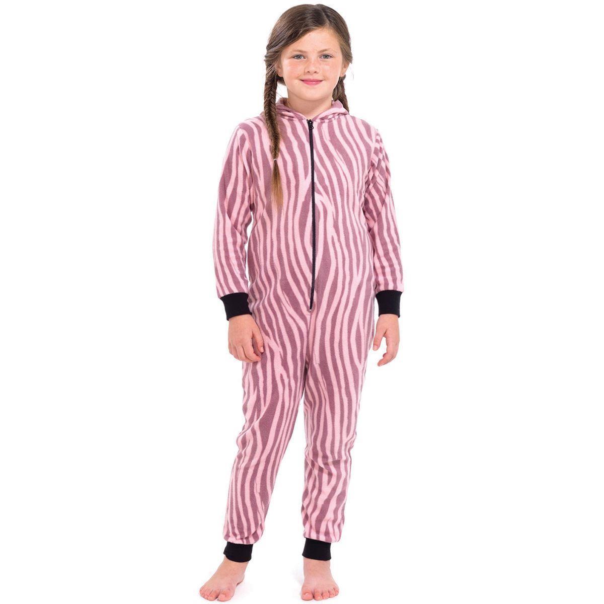 Girls Zebra Print Onesie - Pink