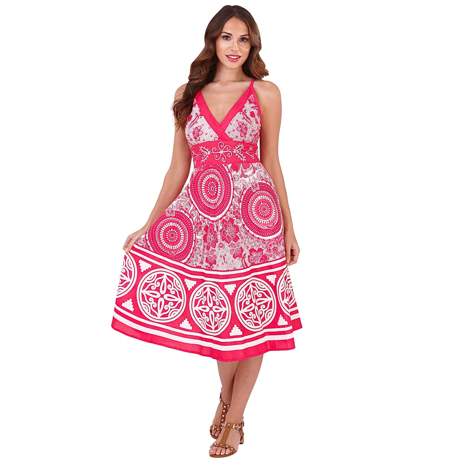 Pistachio Pattern Crossover Dress - Pink