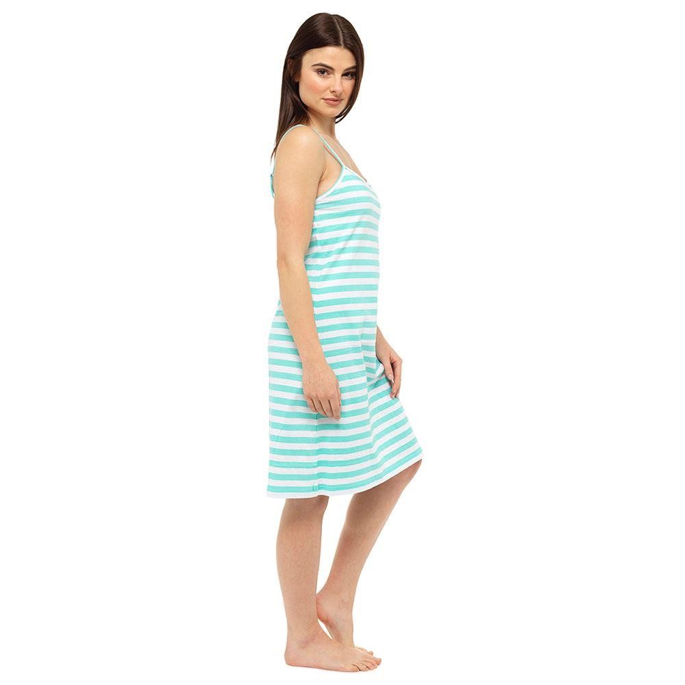 Ladies Chemise - Green Stripe