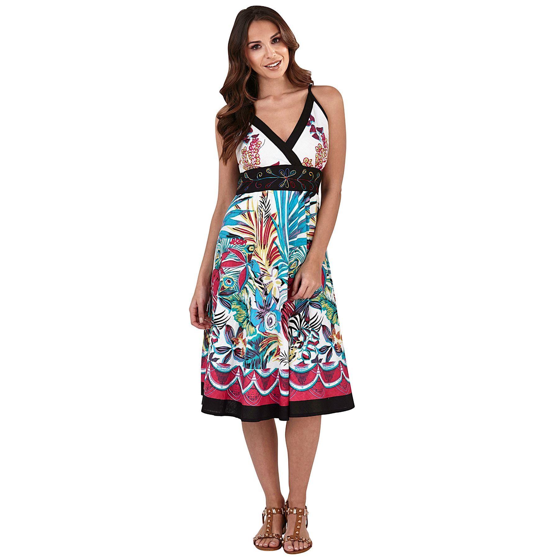 Pistachio Tropical Print Crossover Dress - Black