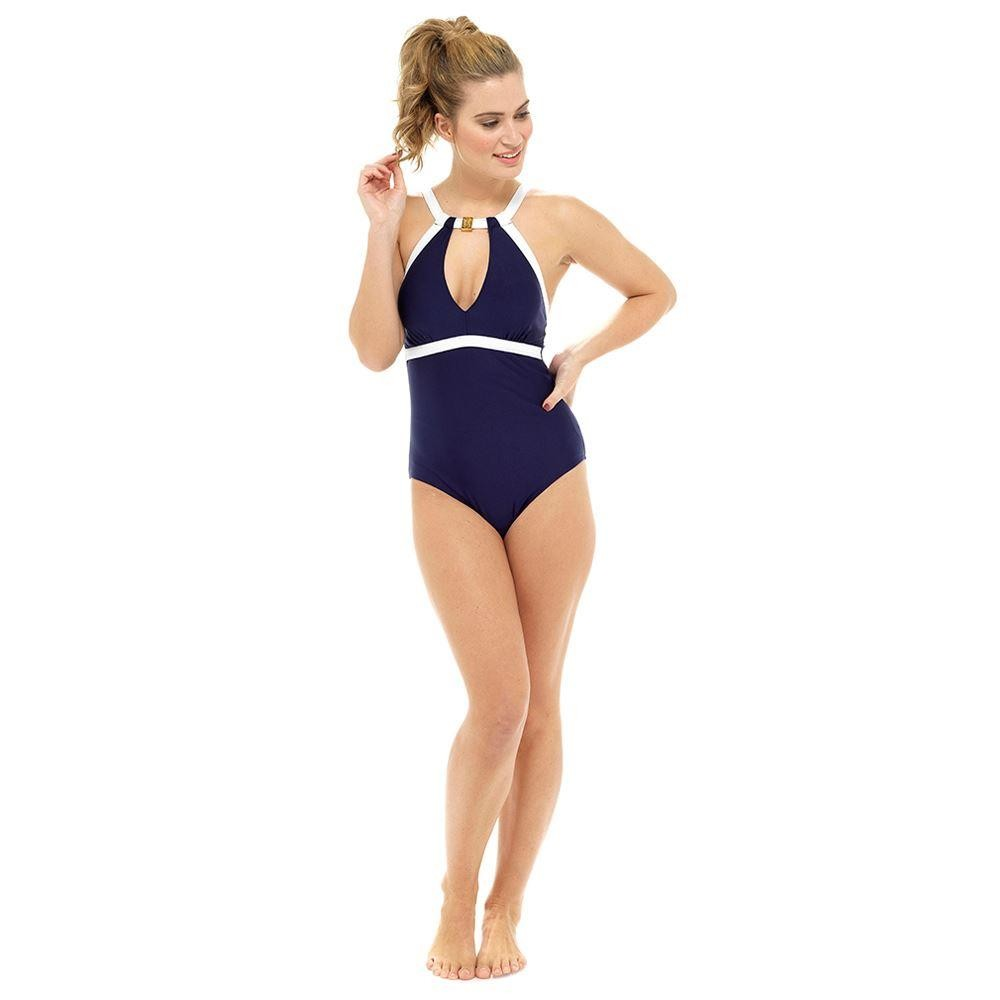 Ladies High Neck Tummy Control Contrast Swimsuit - Navy