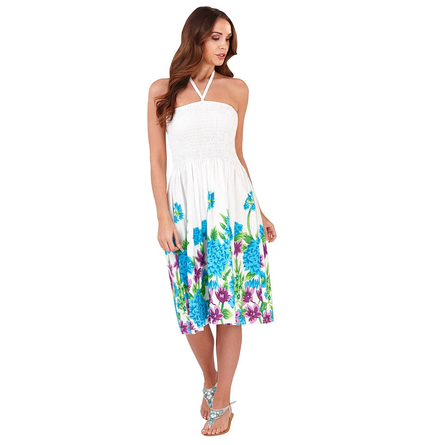 Pistachio Bold Floral Print 3 in 1 Dress - Blue