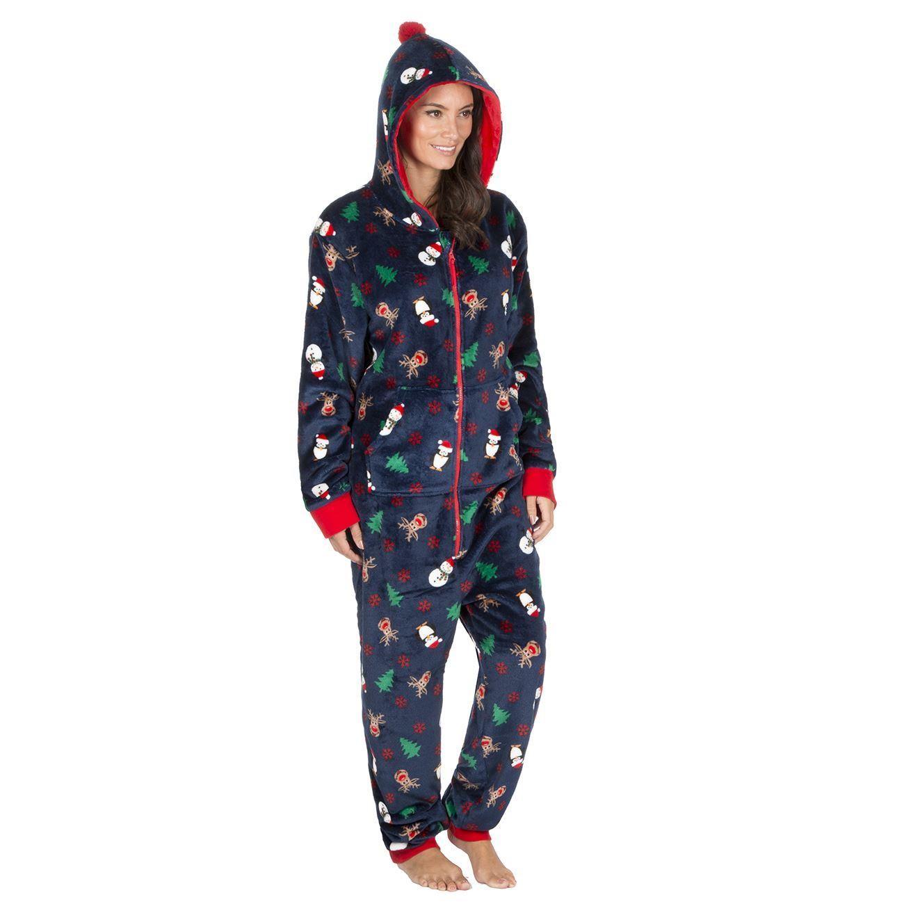 Onezee Christmas Flannel Fleece Onesie - Navy
