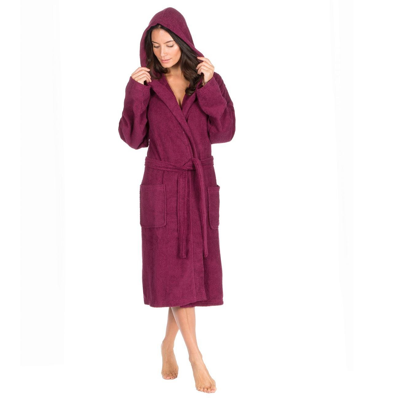 Forever Dreaming Cotton Hooded Towelling Robe - Berry