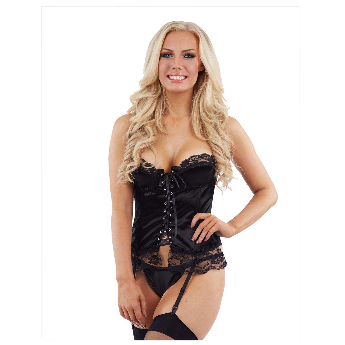 Classified Satin Basque and Thong Set - Black