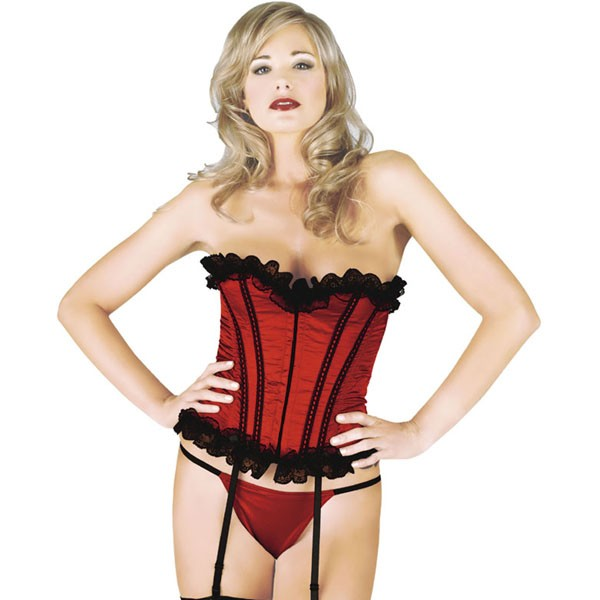 Sunburst Satin Lace Up Corset - Red