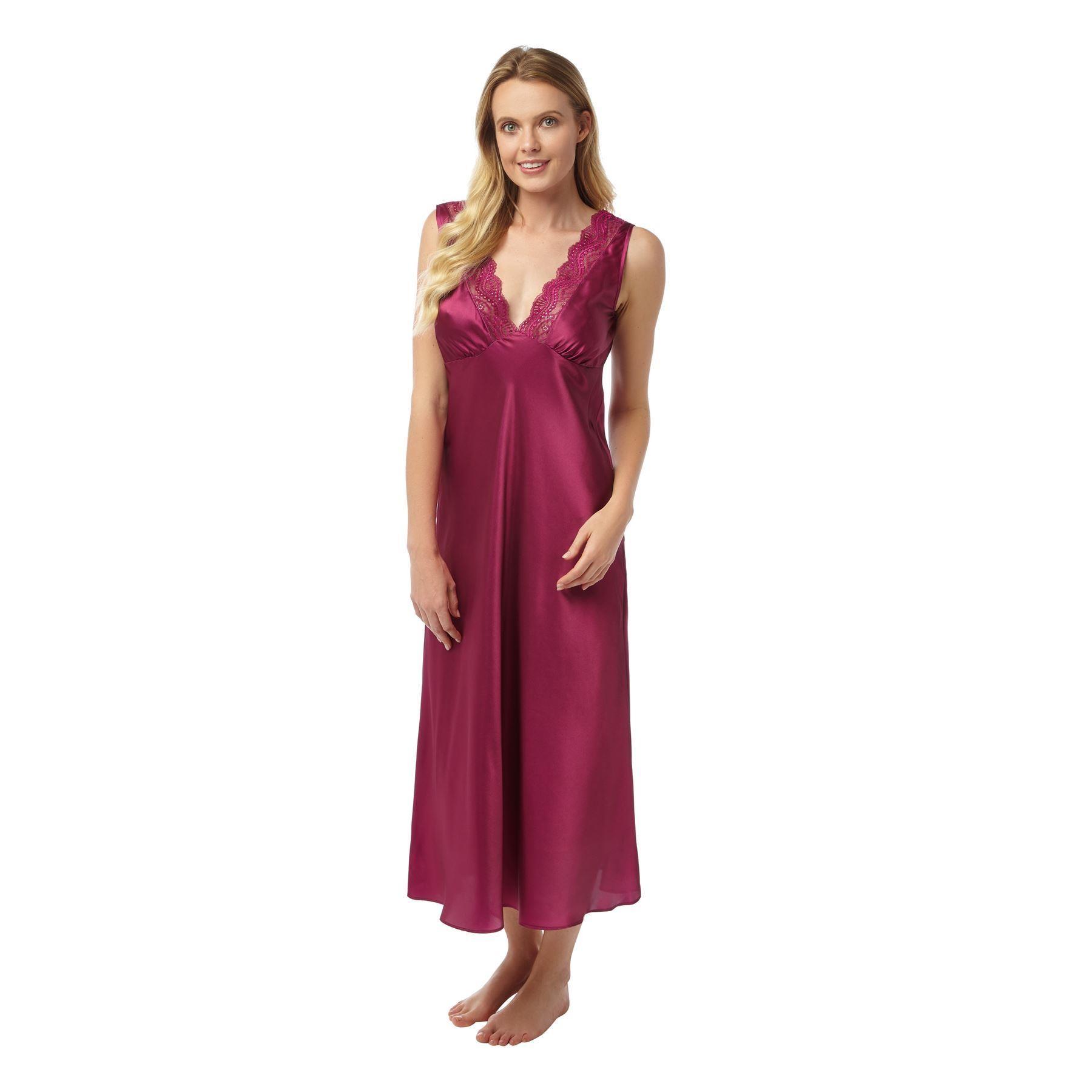 8564c370ebe51 Indigo Sky Ladies Long Satin Nightdress - Grape | Free UK Delivery |  KnickersBoxersGlory