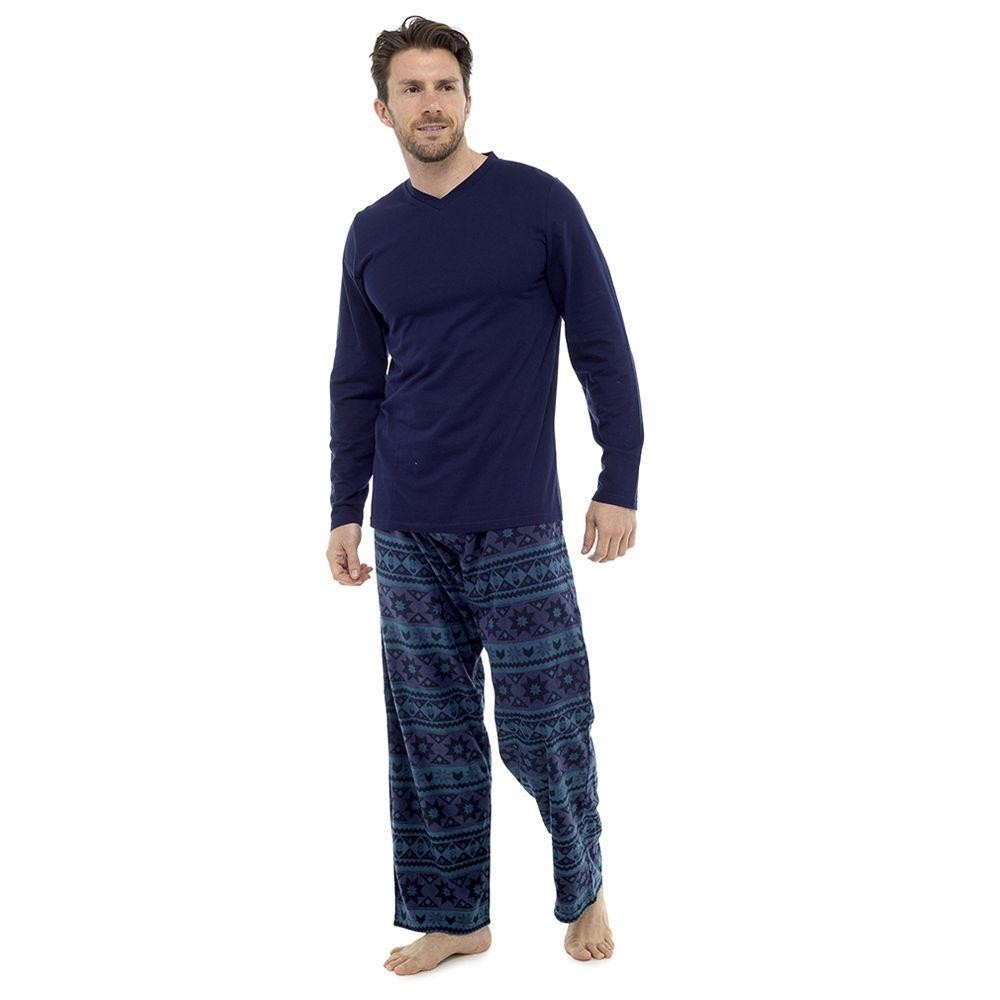 Tom Franks Mens Fairisle Fleece Pyjamas - Navy/Green
