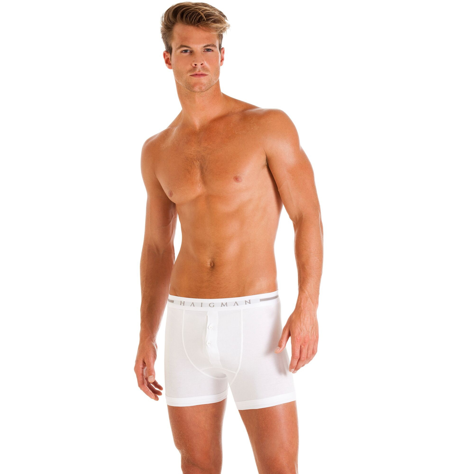 Haigman Button Front Boxer Shorts (2 Pack)
