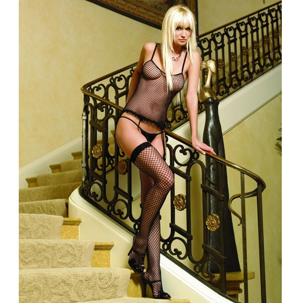 Leg Avenue Cami Garter, G String and Thigh Highs