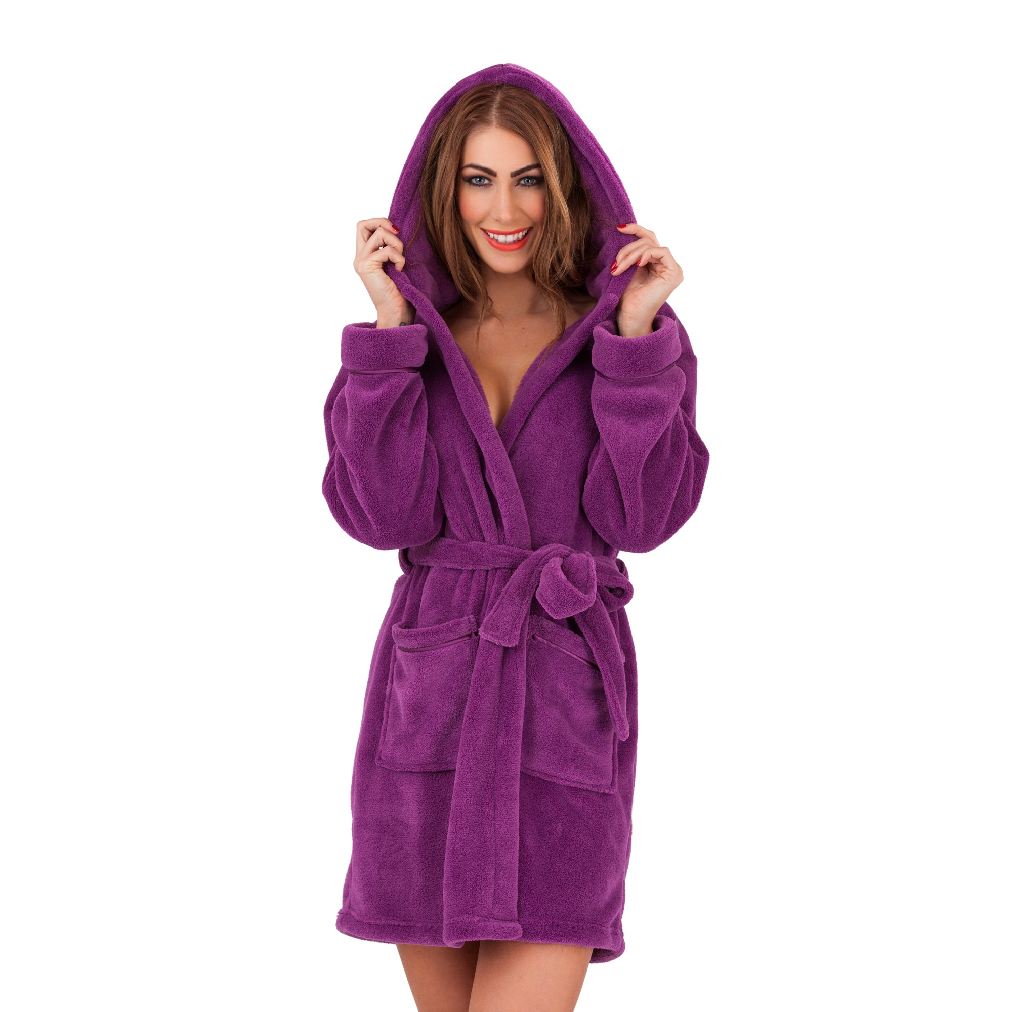 Ladies Super Soft Hooded Fleece Dressing Gown - Berry  cc5c9c739