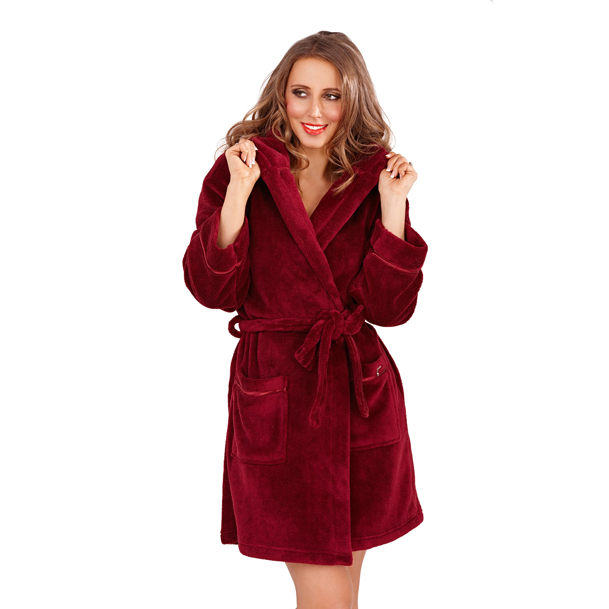 Ladies Super Soft Hooded Fleece Dressing Gown - Burgundy