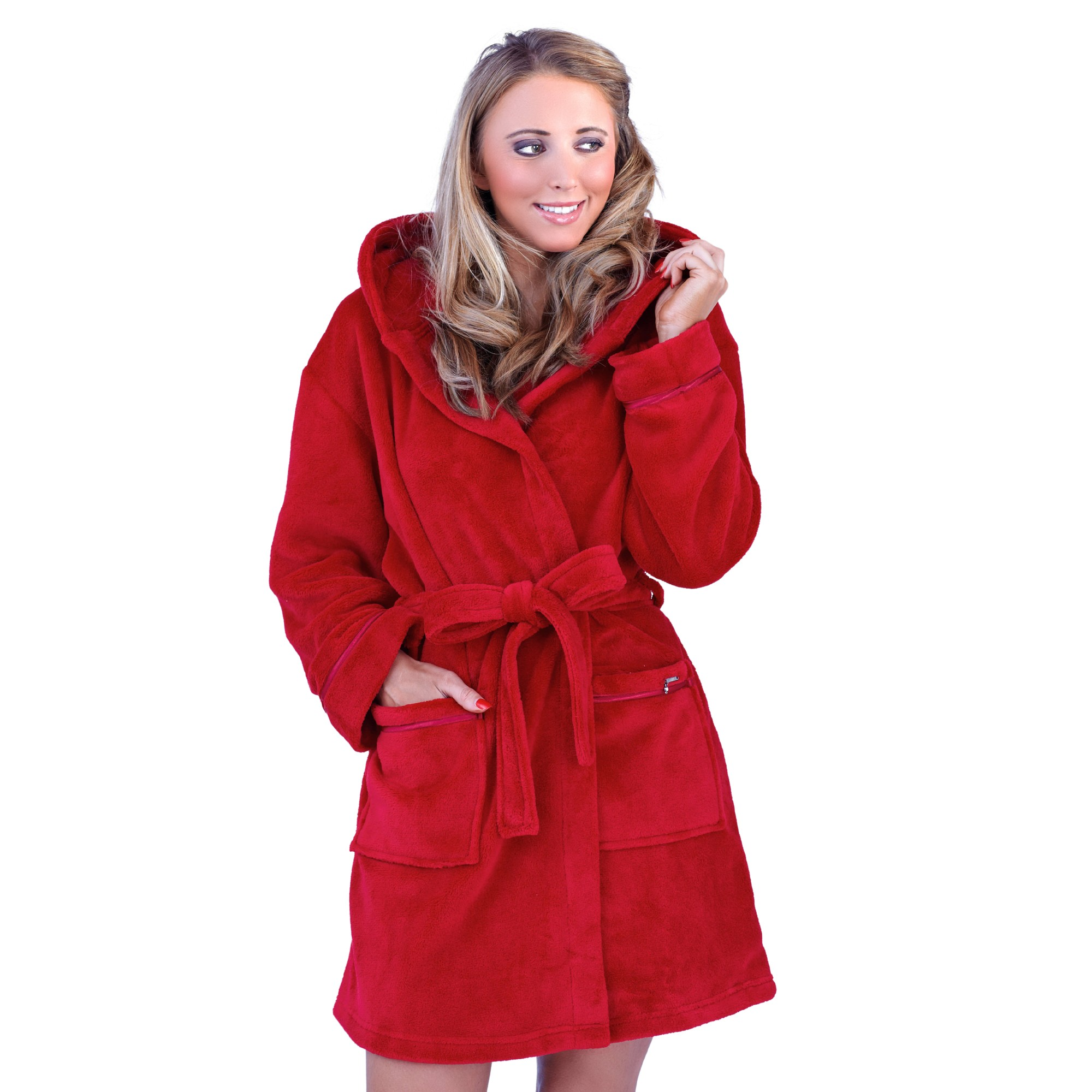 Ladies Super Soft Hooded Fleece Dressing Gown - Red