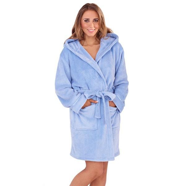 Ladies Super Soft Hooded Fleece Dressing Gown - Sorbet Blue  4efbc15a6