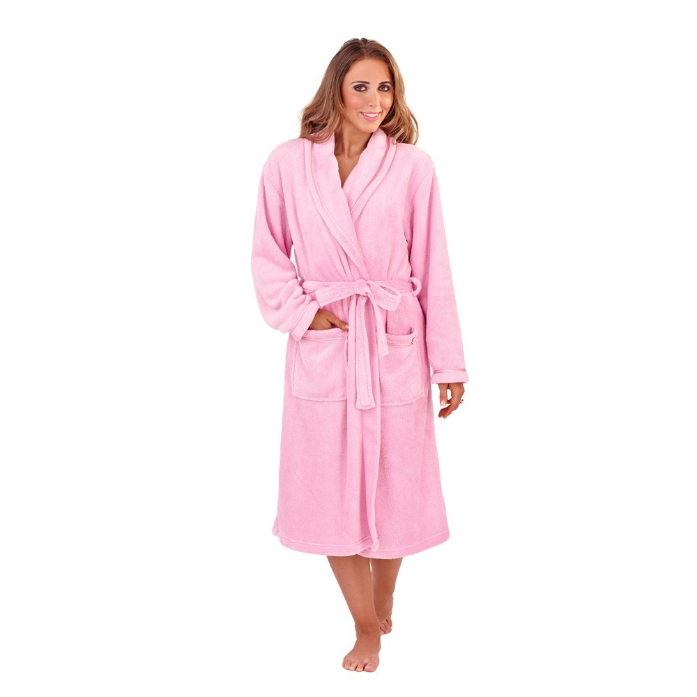 Ladies Super Soft Fleece Dressing Gown - Sorbet Pink