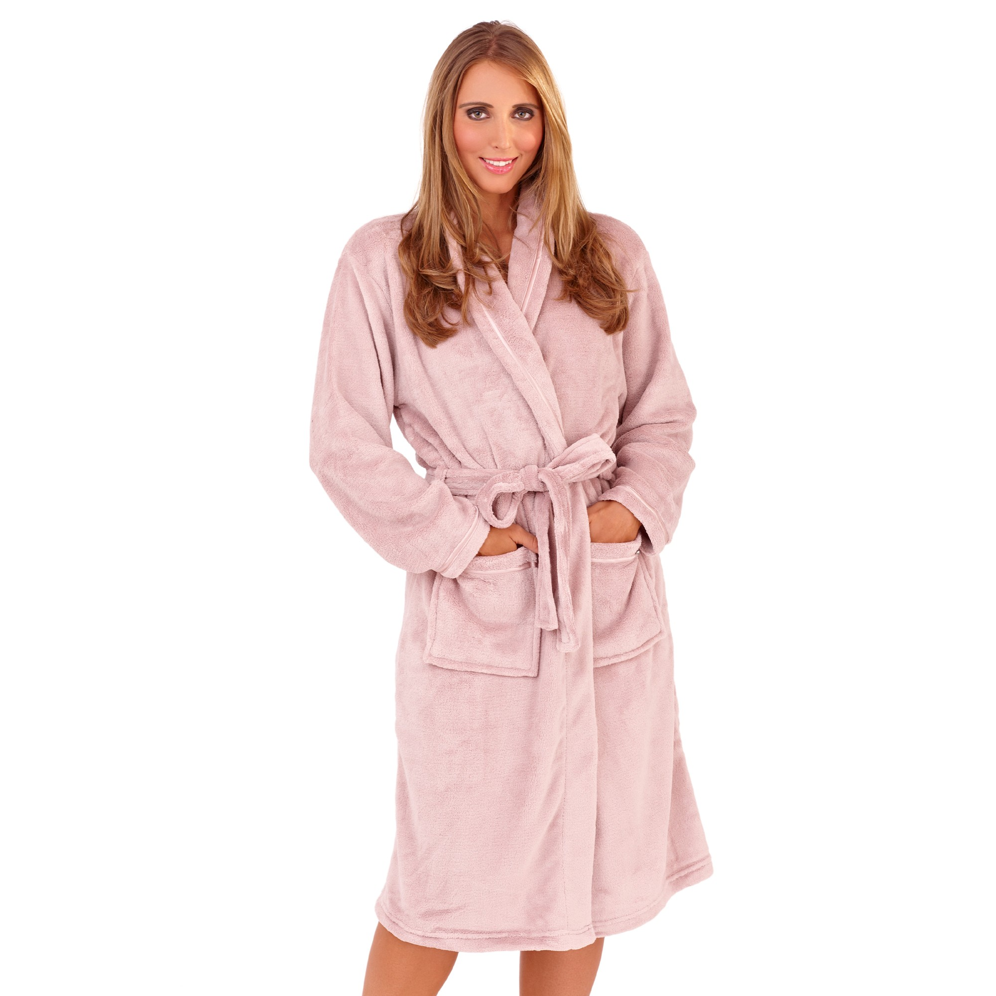 Ladies Super Soft Fleece Dressing Gown - Taupe