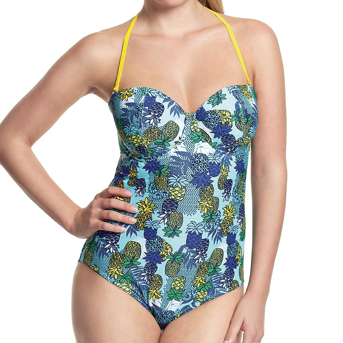 Panache Cleo Carmen Bandeau Swimsuit - Tropical Print