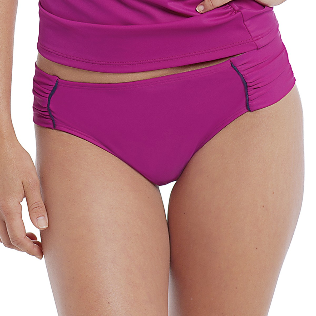 Panache Veronica Gathered Bikini Brief - Magenta