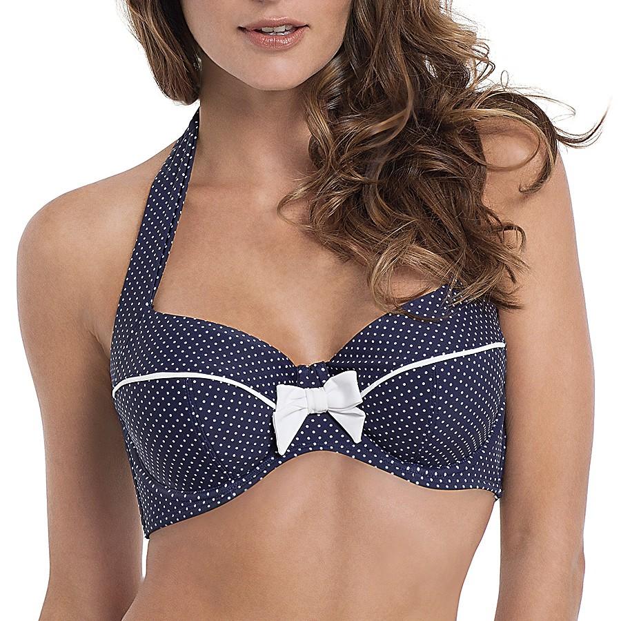 Panache Britt Halter Bikini Top - Navy Spot