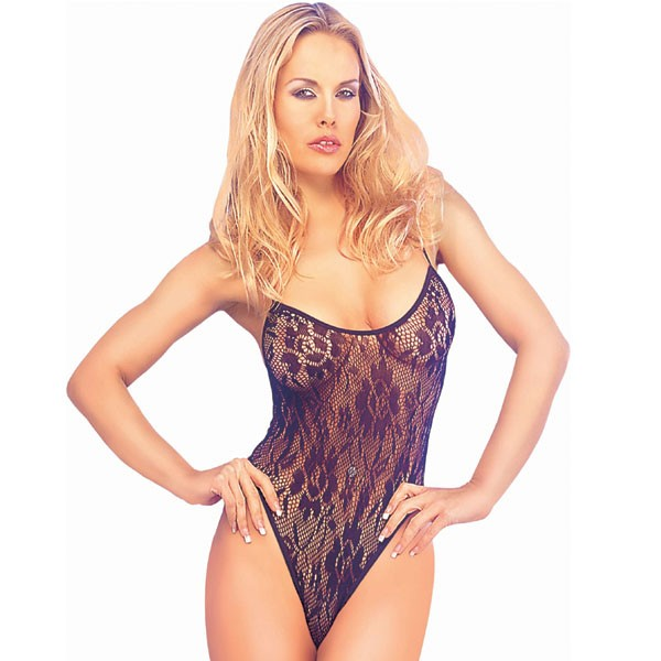 Classified Floral Lace Bodystocking - Black