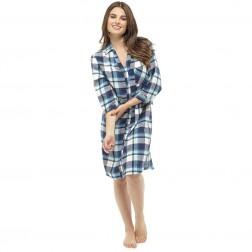 Ladies Yarn Dyed Check Night Shirt - Blue/Mint