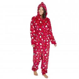 Onezee Christmas Print Fleece Onesie - Red