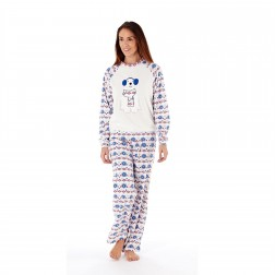 Ladies Polar Bear Motif/Fairisle Fleece Pyjama Set - Winter White